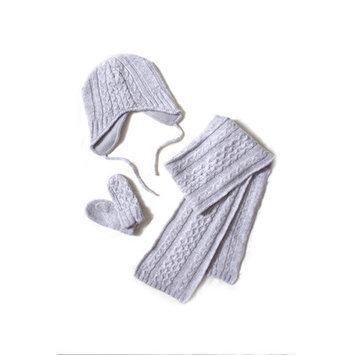 Esteffi Cable Knit Wool Blend 3 Piece Scarf Set (Set of 2) Color: Gray