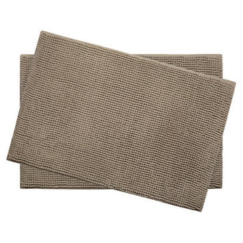 Bath Studio Plush Memory Foam Chenille Cushioned Bath Mat (Set of 2), Linen, 20 x 30
