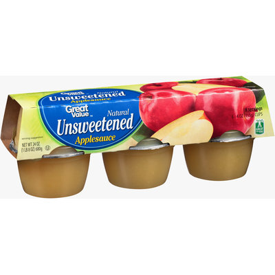 Great Value™ Natural Unsweetened Applesauce 6-4 oz. Cups