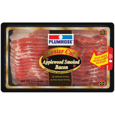Plumrose Center Cut Applewood Smoked Bacon 12 Oz Package