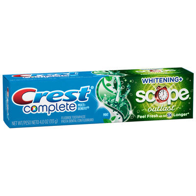 Crest Complete Multi-Benefit Whitening + Scope Outlast Long Lasting Mint Flavor Toothpaste 4 oz. Box