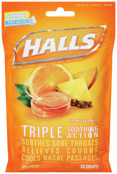 Halls® Tropical Fruit Cough Suppressant/Oral Anesthetic Menthol Drops 30 ct Bag