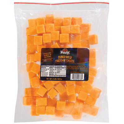 Pauly Mild Cheddar Cubed Cheese 2 Lb Zip Pak