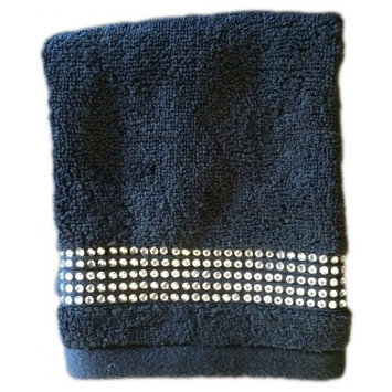 Sparkles Home Rhinestone Washcloth Color: Black