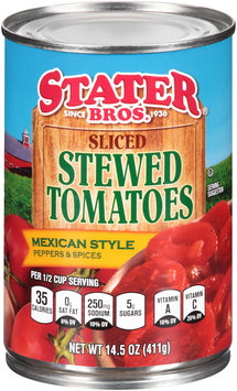 Stater Bros.® Sliced Stewed Tomatoes Mexican Style Peppers & Spices 14.5 oz. Can