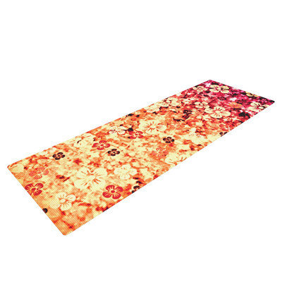 Kess Inhouse Flower Power by Ebi Emporium Yoga Mat Color: Orange