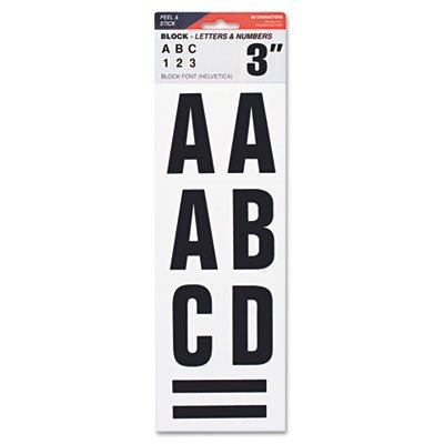 COSCO Letters, Numbers & Symbols, Adhesive, 3, Black