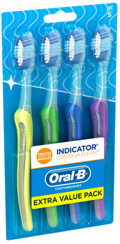 Oral-B Indicator Contour Clean Soft Toothbrush 4 ct Carded Pack