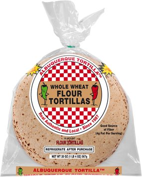 Albuquerque Tortilla™ Whole Wheat Flour Tortillas 20 oz. Bag
