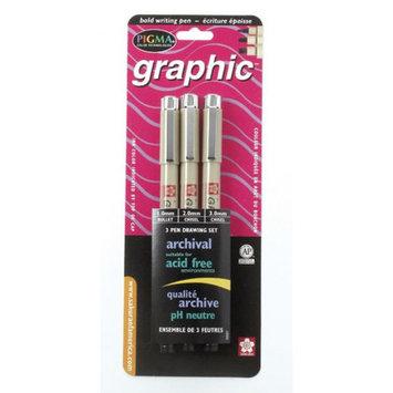 Sakura Pigma Graphic Pen Set, 3/pkg