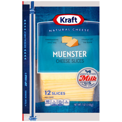 Kraft Muenster Cheese Slices 12 ct ZIP-PAK®