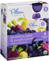 Plum™ Organics Yum™ Stage 2 Blueberry, Pear & Purple Carrot Organic Baby Food 4-4 oz. Pouches