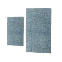 Textile Decor Castle 2 Piece 100% Cotton New Tile Spray Latex Bath Rug Set, 30 H X 20 W and 40 H X 24 W