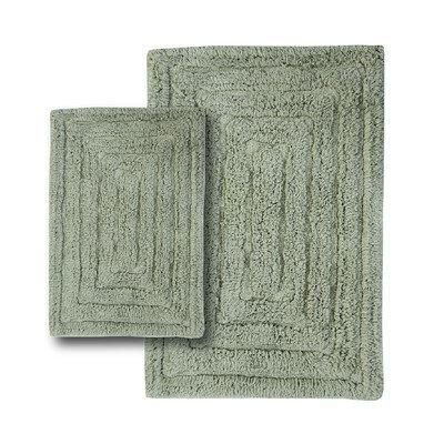 Textile Decor Castle 2 Piece 100% Cotton Racetrack Spray Latex Bath Rug Set, 24 H X 17 W and 40 H X 24 W