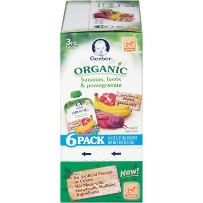Gerber® 3rd Foods® Organic Bananas, Beets & Pomegranate Baby Food 6-4.23 oz. Pouches