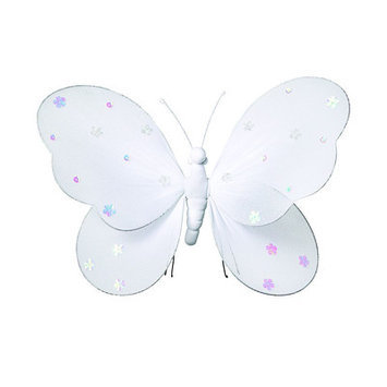 Heart To Heart Sequined Hanging Butterfly - Size: Large, Color: White