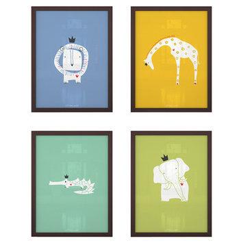 Littlelion Studio 4 Piece Royal Safari Paper Print Set Color: CC2