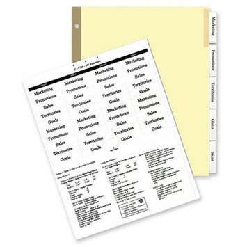 Kleer-Fax, Inc. Insertable Ring Book Indexes, 5-Tabs, 11