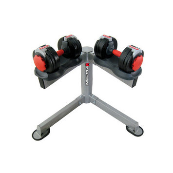 Mileage Fitness Adjustable Dumbbells with Stand Weight: 5 - 40 lbs