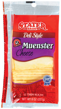 Stater Bros. Muenster Deli Style Thin Slices 12 Ct Cheese 8 Oz Peg