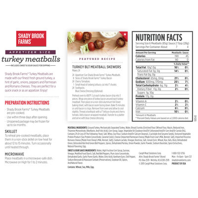 Shady Brook Farms® Turkey Meatballs Includes Sweet & Sour Sauce for Dipping 24 oz. Box
