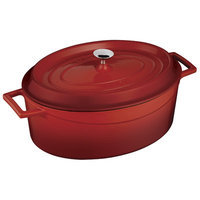 Lava Cookware Signature Enameled Cast-Iron Oval Dutch Oven, 5-qt, Cayenne Red