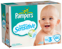 Pampers Swaddlers Sensitive Super Economy Pack Size 3 Diapers 144 ct Box