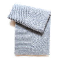Esteffi Cable Border Wool Blend Baby Blanket (Set of 2) Color: Heathered Gray