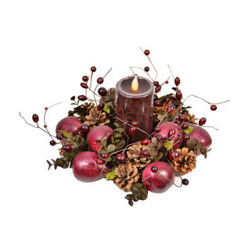 Fantastic Craft Pear Ring with Pillar Candle Color: Brown/Green