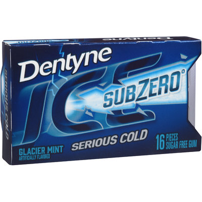 Dentyne Ice Sub Zero Glacier Mint Sugar Free Gum 16 Piece Pack
