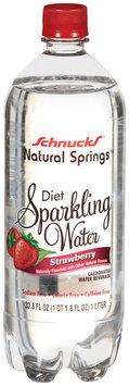 Schnucks Natural Springs Diet Sparkling Water Strawberry Flavored Carbonated Water Beverage 33.8 Oz Plastic Bottle