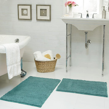 Resort Collection Chenille Plush 2 Piece Bath Mat Set, Marine Blue