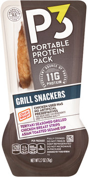 P3 Grill Snackers Teriyaki Seasoned Grilled Chicken Breast Strips & Asian Toasted Sesame Dip Portable Protein Pack 2.7 oz. Tray