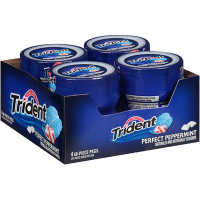 Trident Perfect Peppermint Sugar Free Gum 4-60 Piece Plastic Bottles