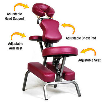 Vandue Corporation Ataraxia Leather Portable Massage Chair Color: Burgundy
