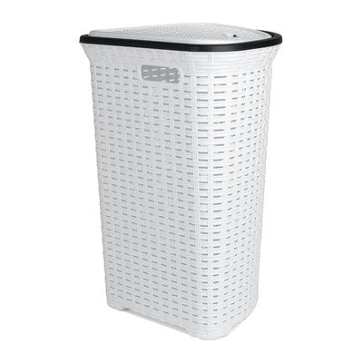 Superior Performance Rattan (Wicker Style) Corner Laundry Hamper 1.47 Bushel / 52 Liter (White)