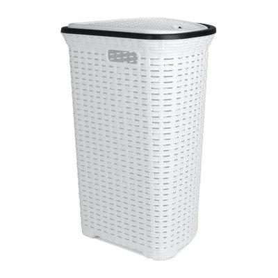 Superior Performance Rattan (Wicker Style) Corner Laundry Hamper 1.47 Bushel / 52 Liter (White)