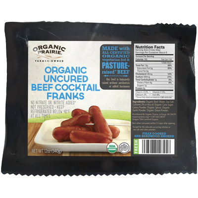 Organic Prairie® Fresh Organic Uncured Beef Cocktail Franks 12 oz. Pack
