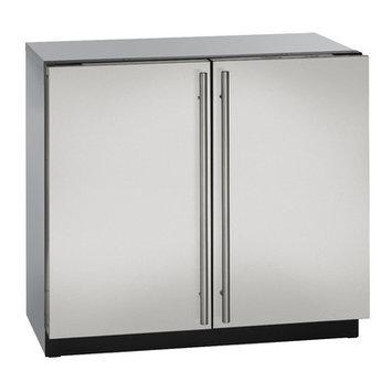U-Line 36 Stainless Steel Double Door Compact Refrigerator