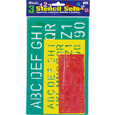Bazic 342-24 10- 17- 27mm Lettering Stencil Sets