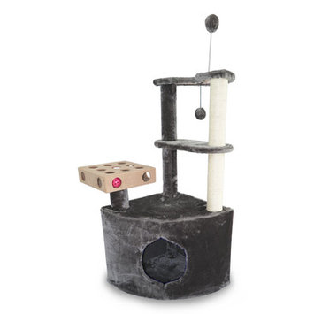 Zoey Tails Home Base Playground Corner Cat Tree with Cat Condo