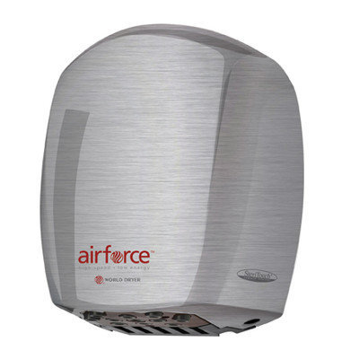 World Dryer Airforce Hi-Speed Hand Dryer Finish: Polished Stainless Steel, Voltage: 208-240 V