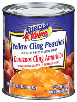 Special Value Yellow Cling Irregular Pieces In Light Syrup Peaches 29 Oz Can