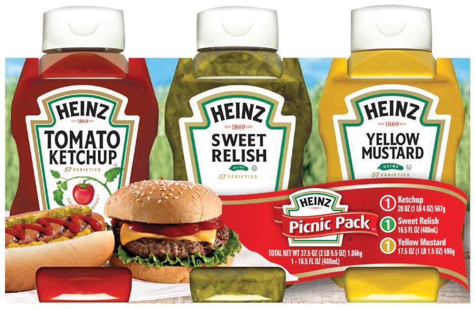 Heinz Tomato Ketchup/Yellow Mustard/Sweet Relish Picnic Pack 3 Pk Sleeve