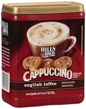 Hills Bros English Toffee Cappuccino Drink Mix 16 Oz Plastic Container