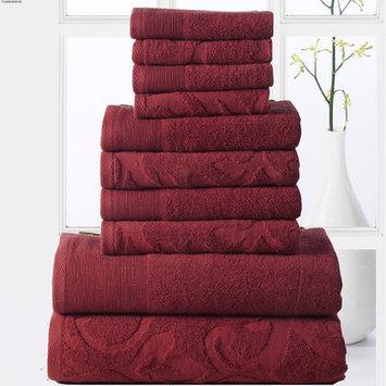 Affinity Linens Elegance Spa 10 Piece Towel Set, Biking Red