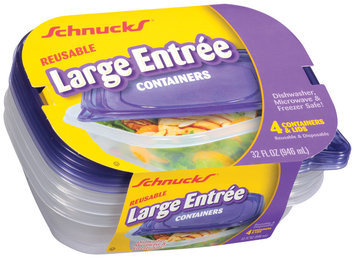 Schnucks Reusable Large Entree W/Lids 32 Oz Containers 4 Ct Plastic Container