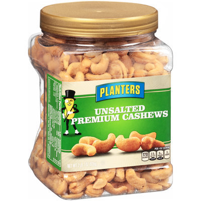 Planters Unsalted Premium Cashews Canister