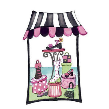 4 Walls Shoe Department Window Border Color: Pink and Black