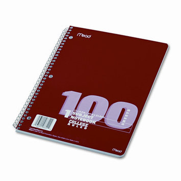 Mead Products Mead Spiral Bound Notebook with College Rule, Letter, 100 Sheets - White